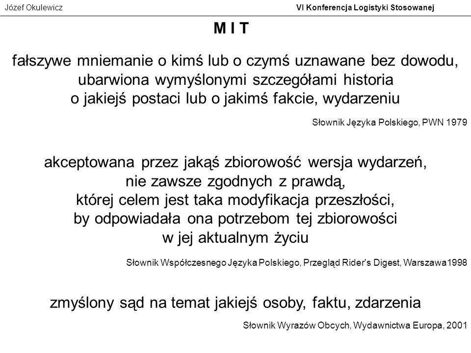 Józef Okulewicz VI Konferencja Logistyki Stosowanej fałszywe mniemanie o kimś lub o czymś uznawane bez dowodu, ubarwiona wymyślonymi szczegółami histo