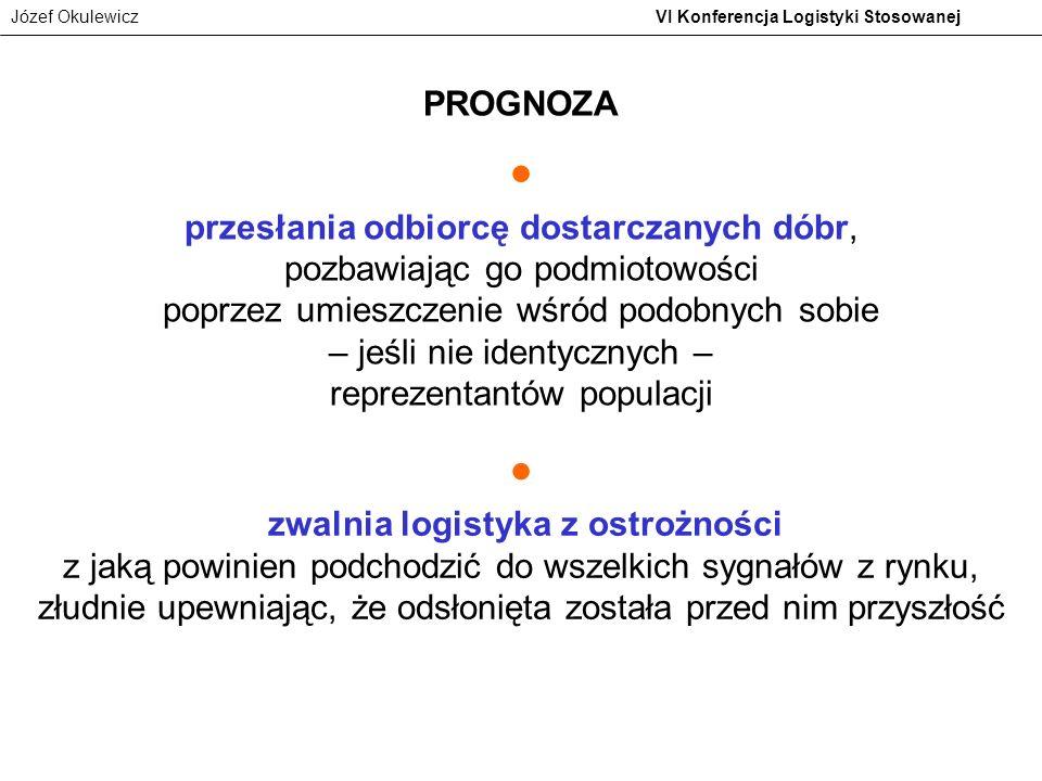 Józef Okulewicz VI Konferencja Logistyki Stosowanej przesłania odbiorcę dostarczanych dóbr, pozbawiając go podmiotowości poprzez umieszczenie wśród po