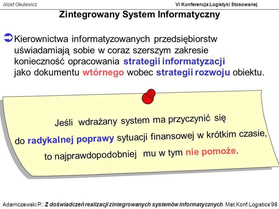 Józef Okulewicz VI Konferencja Logistyki Stosowanej Kierownictwa informatyzowanych przedsiębiorstw uświadamiają sobie w coraz szerszym zakresie koniec
