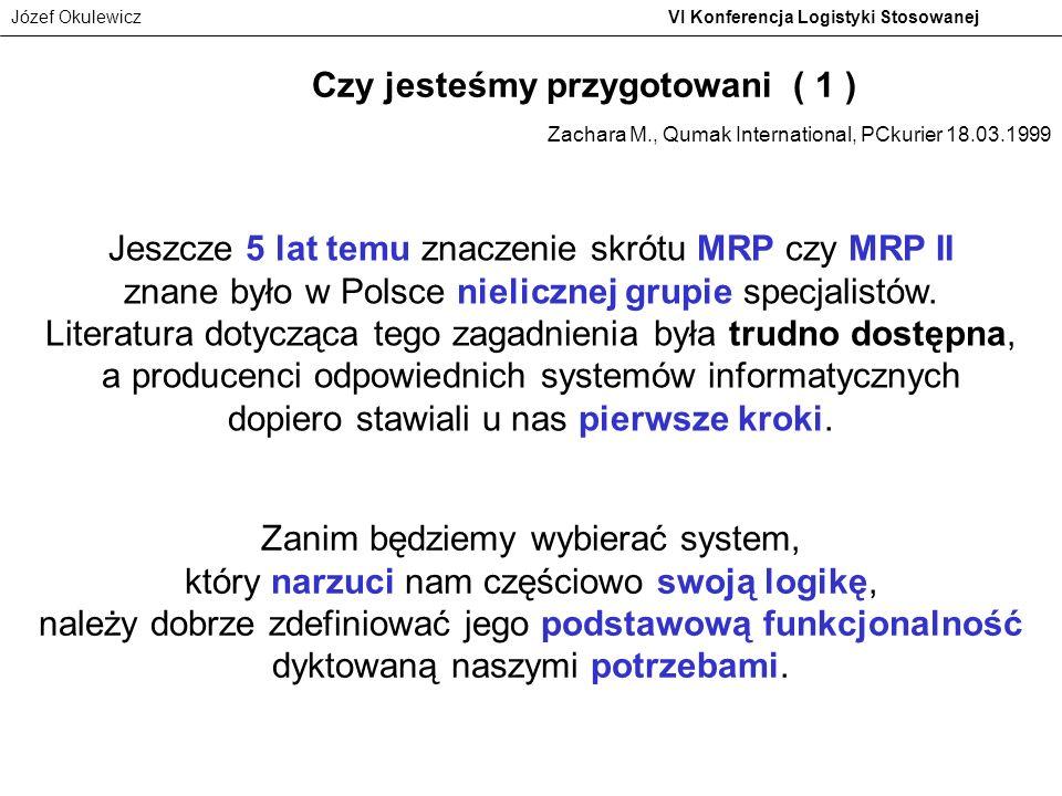 Józef Okulewicz VI Konferencja Logistyki Stosowanej Jeszcze 5 lat temu znaczenie skrótu MRP czy MRP II znane było w Polsce nielicznej grupie specjalis