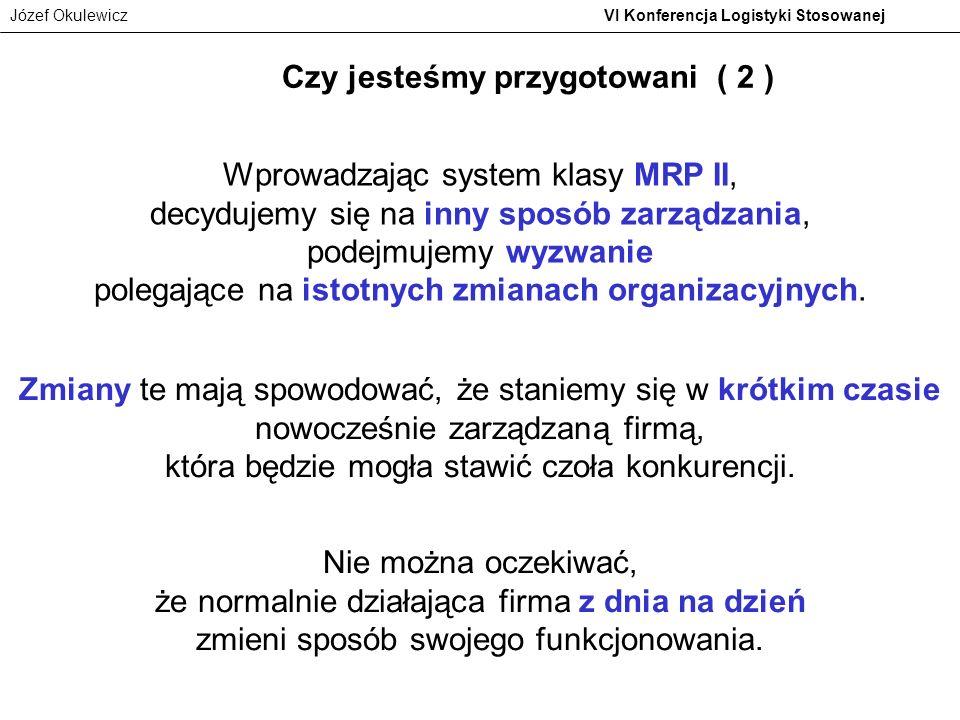 Józef Okulewicz VI Konferencja Logistyki Stosowanej Wprowadzając system klasy MRP II, decydujemy się na inny sposób zarządzania, podejmujemy wyzwanie