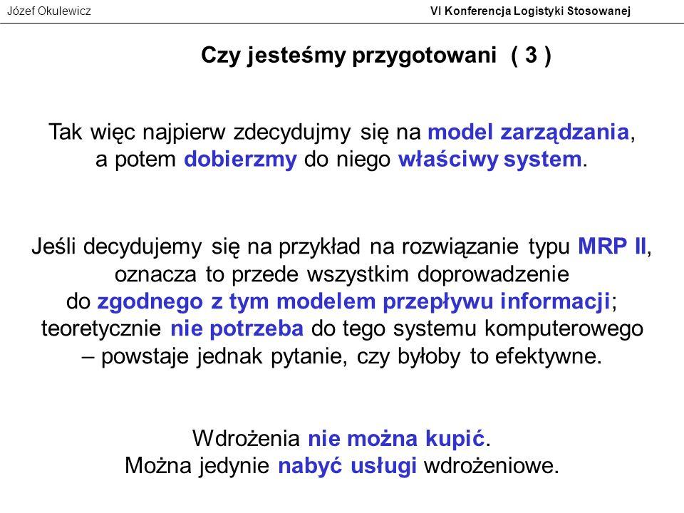 Józef Okulewicz VI Konferencja Logistyki Stosowanej Czy jesteśmy przygotowani ( 3 ) Tak więc najpierw zdecydujmy się na model zarządzania, a potem dob