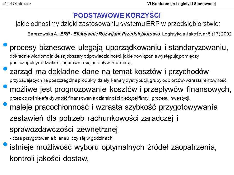 Józef Okulewicz VI Konferencja Logistyki Stosowanej PODSTAWOWE KORZYŚCI jakie odnosimy dzięki zastosowaniu systemu ERP w przedsiębiorstwie: procesy bi