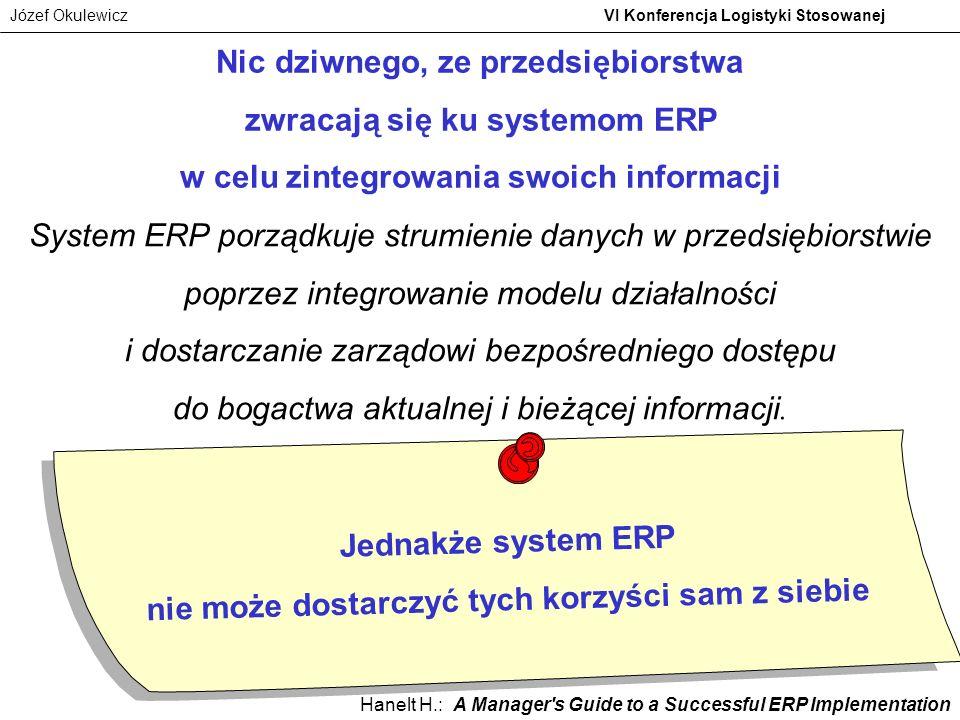 Józef Okulewicz VI Konferencja Logistyki Stosowanej Nic dziwnego, ze przedsiębiorstwa zwracają się ku systemom ERP w celu zintegrowania swoich informa