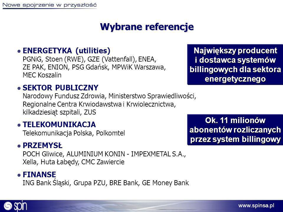 www.spinsa.pl Wybrane referencje ENERGETYKA (utilities) PGNiG, Stoen (RWE), GZE (Vattenfall), ENEA, ZE PAK, ENION, PSG Gdańsk, MPWiK Warszawa, MEC Kos