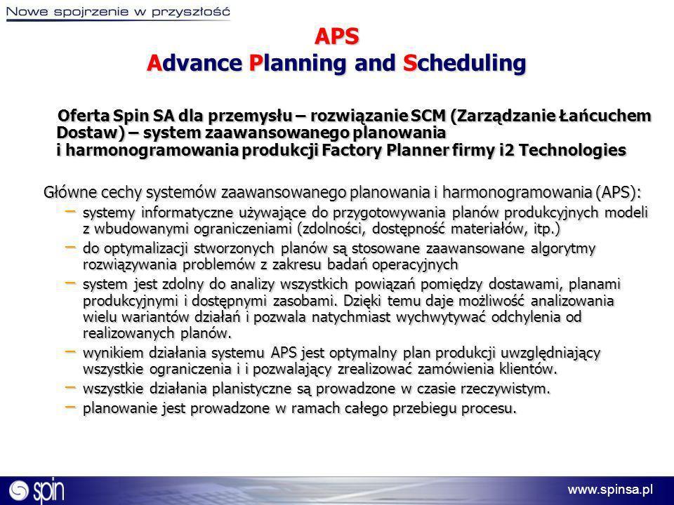 www.spinsa.pl APS Advance Planning and Scheduling Oferta Spin SA dla przemysłu – rozwiązanie SCM (Zarządzanie Łańcuchem Dostaw) – system zaawansowaneg
