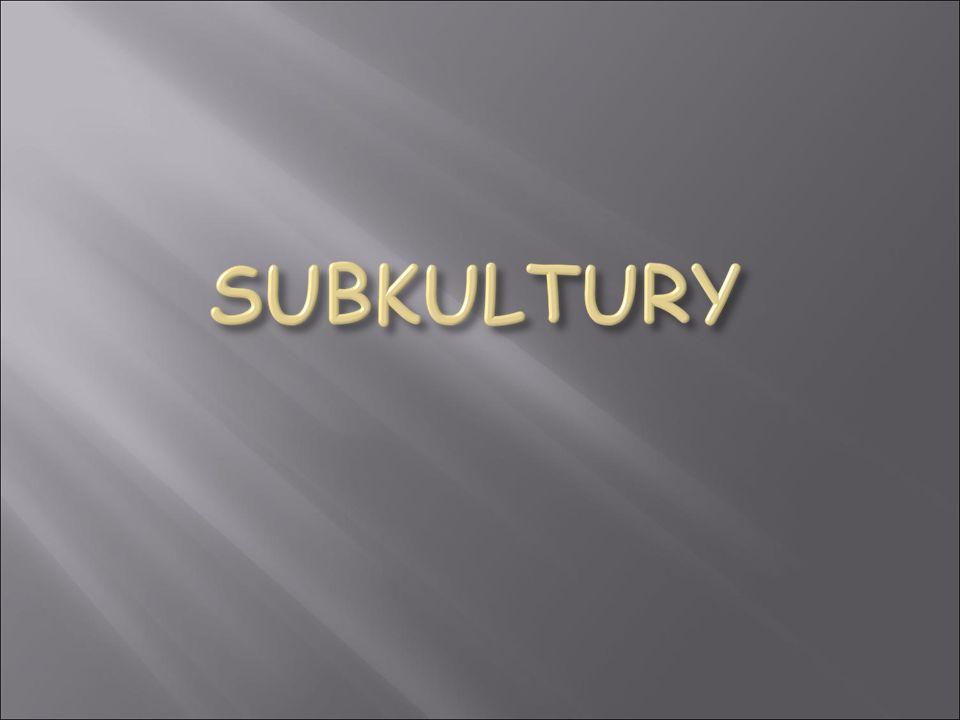 Subkultura - określa grupę społeczną i jej kulturę wyodrębnioną według jakiegoś kryterium np.