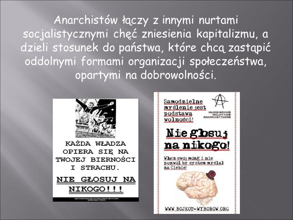 Anarchistów łączy z innymi nurtami socjalistycznymi chęć zniesienia kapitalizmu, a dzieli stosunek do państwa, które chcą zastąpić oddolnymi formami organizacji społeczeństwa, opartymi na dobrowolności.