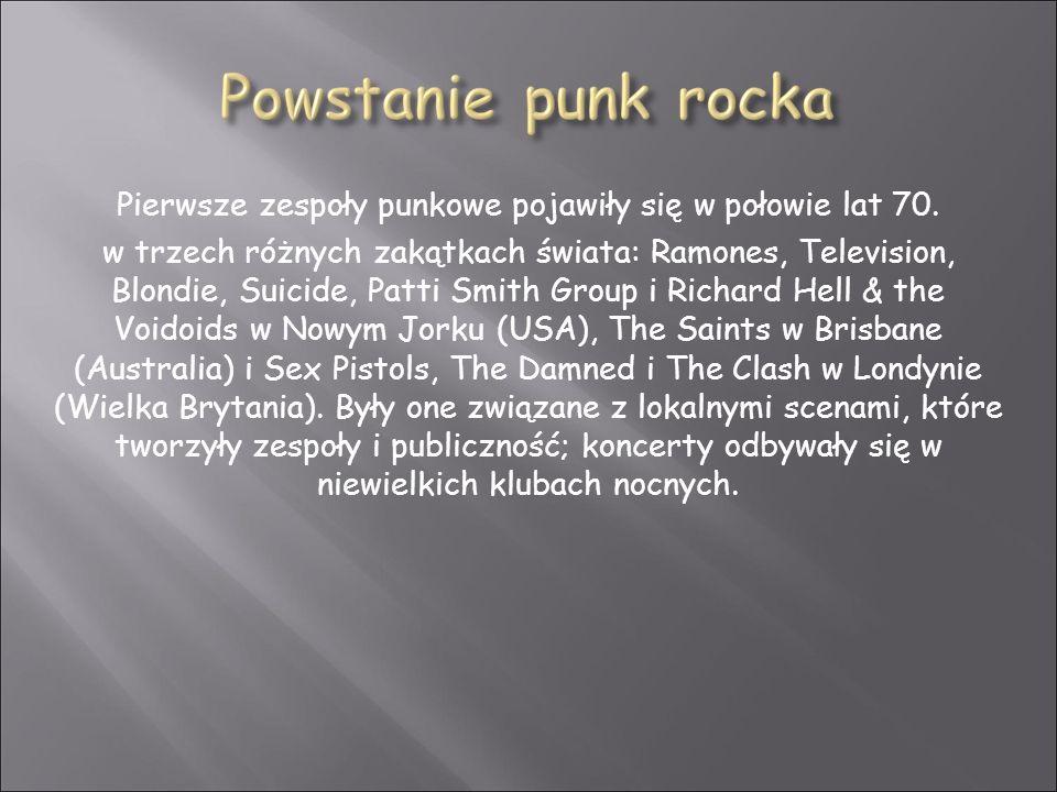 Pierwsze zespoły punkowe pojawiły się w połowie lat 70. w trzech różnych zakątkach świata: Ramones, Television, Blondie, Suicide, Patti Smith Group i
