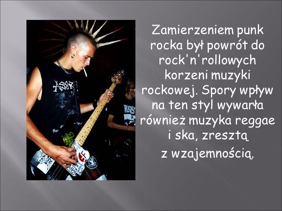 Zamierzeniem punk rocka był powrót do rock'n'rollowych korzeni muzyki rockowej. Spory wpływ na ten styl wywarła również muzyka reggae i ska, zresztą z