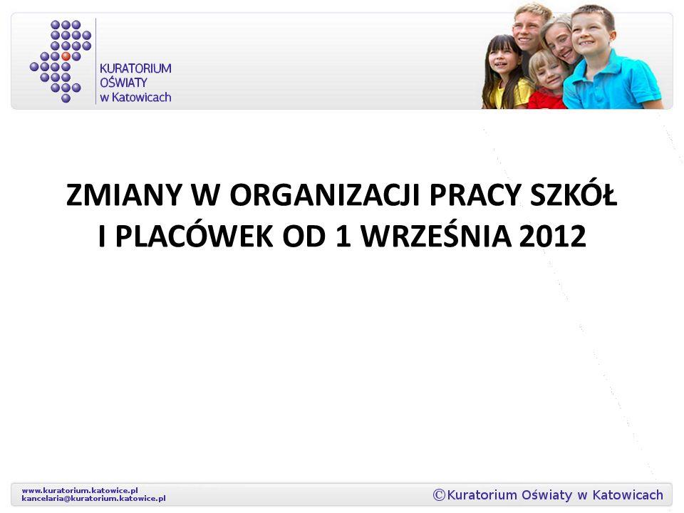 ZMIANY W ORGANIZACJI PRACY SZKÓŁ I PLACÓWEK OD 1 WRZEŚNIA 2012