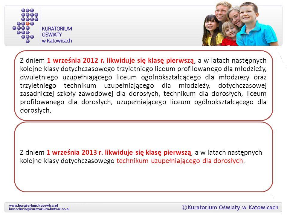 Z dniem 1 września 2012 r. likwiduje się klasę pierwszą, a w latach następnych kolejne klasy dotychczasowego trzyletniego liceum profilowanego dla mło