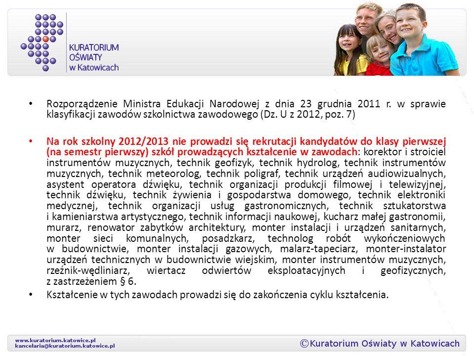 Rozporządzenie Ministra Edukacji Narodowej z dnia 23 grudnia 2011 r. w sprawie klasyfikacji zawodów szkolnictwa zawodowego (Dz. U z 2012, poz. 7) Na r