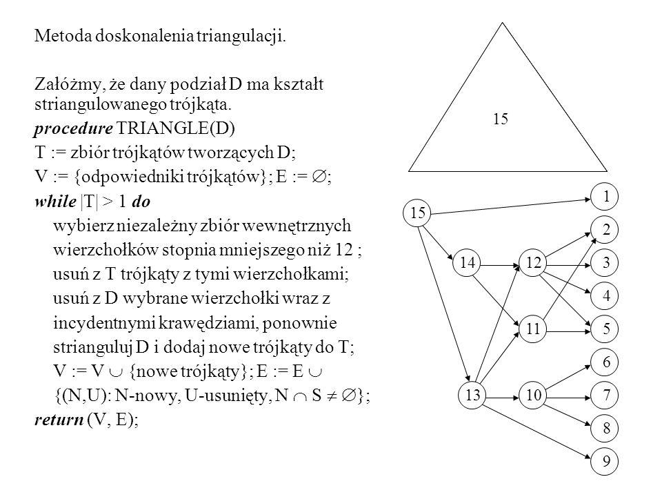 Metoda doskonalenia triangulacji.Załóżmy, że dany podział D ma kształt striangulowanego trójkąta.