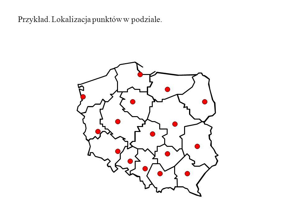 Przykład. Lokalizacja punktów w podziale.