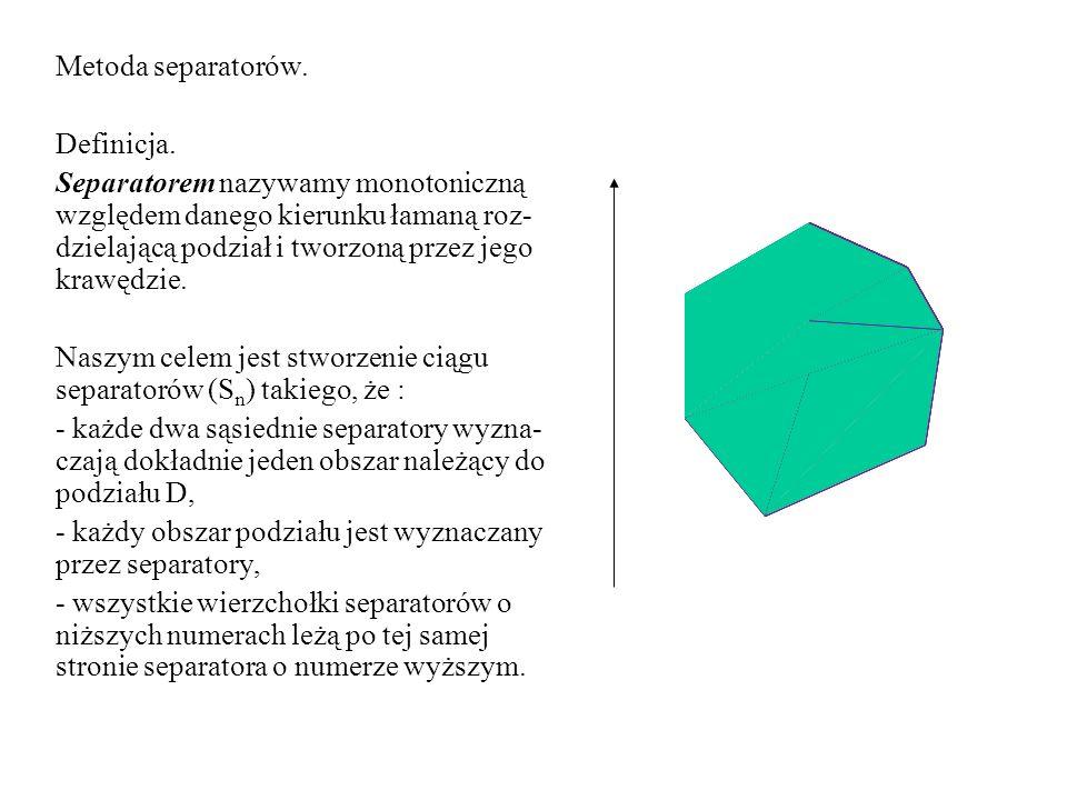 Załóżmy, że ciąg separatorów dla danego podziału jest stablicowany oraz że krawędzie każdego sepa- ratora są również stablicowane.