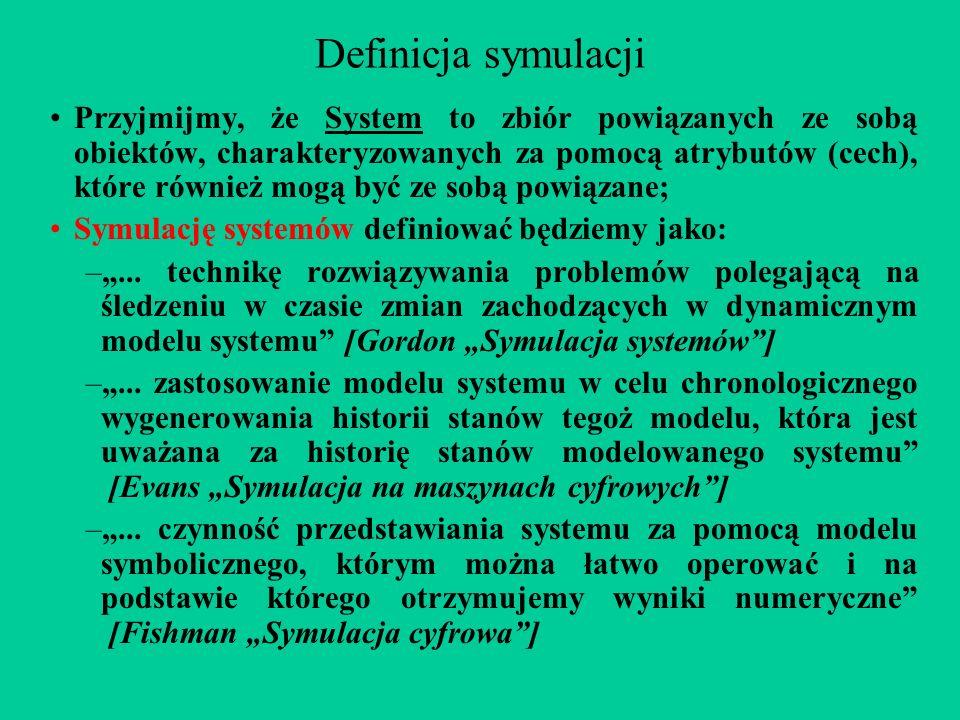 Definicja symulacji Przyjmijmy, że System to zbiór powiązanych ze sobą obiektów, charakteryzowanych za pomocą atrybutów (cech), które również mogą być ze sobą powiązane; Symulację systemów definiować będziemy jako: –...