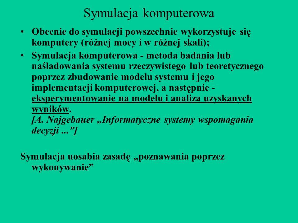 Symulacja komputerowa Obecnie do symulacji powszechnie wykorzystuje się komputery (różnej mocy i w różnej skali); Symulacja komputerowa - metoda badania lub naśladowania systemu rzeczywistego lub teoretycznego poprzez zbudowanie modelu systemu i jego implementacji komputerowej, a następnie - eksperymentowanie na modelu i analiza uzyskanych wyników.