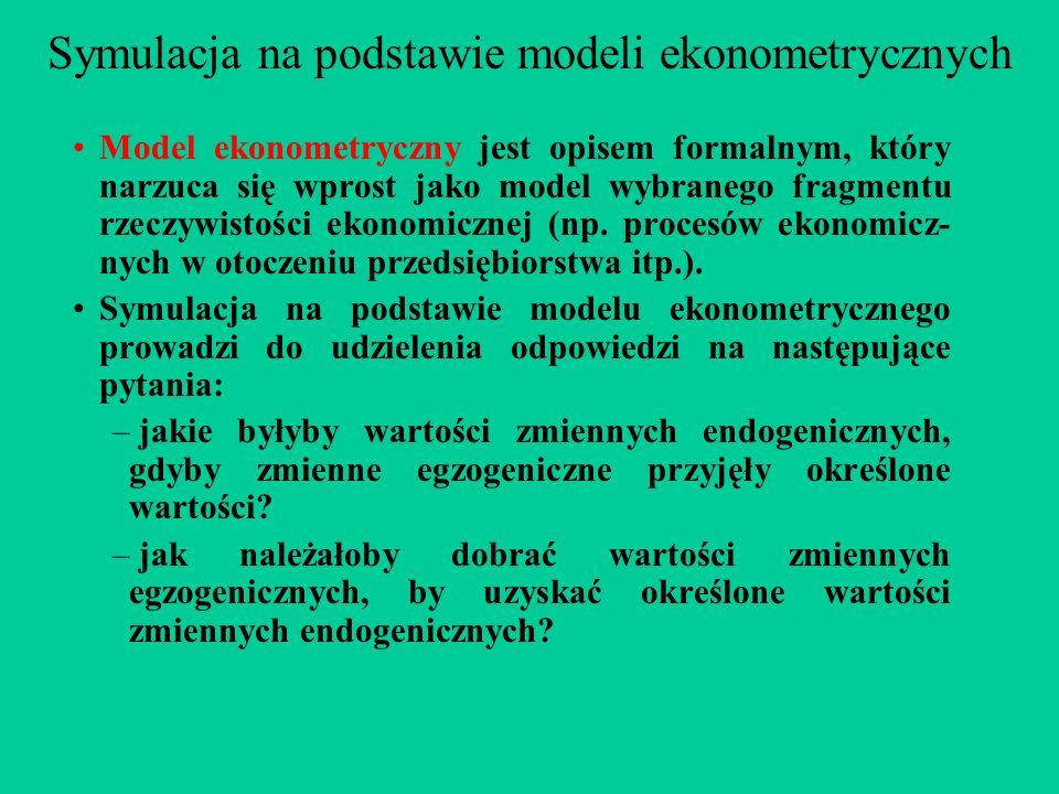 Symulacja na podstawie modeli ekonometrycznych Model ekonometryczny jest opisem formalnym, który narzuca się wprost jako model wybranego fragmentu rzeczywistości ekonomicznej (np.