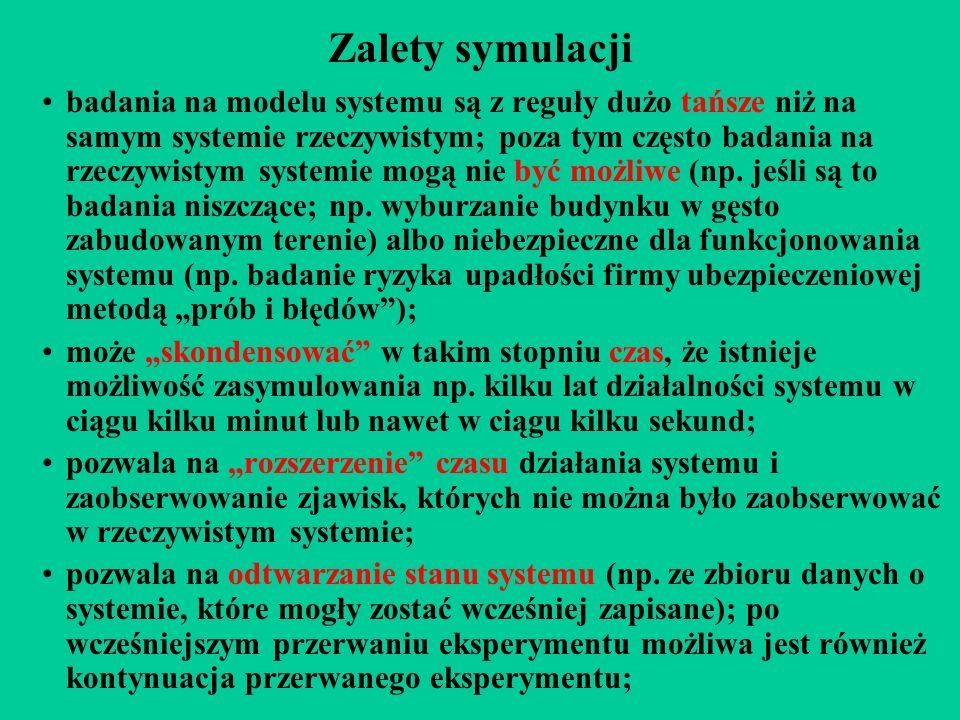 Zalety symulacji badania na modelu systemu są z reguły dużo tańsze niż na samym systemie rzeczywistym; poza tym często badania na rzeczywistym systemie mogą nie być możliwe (np.