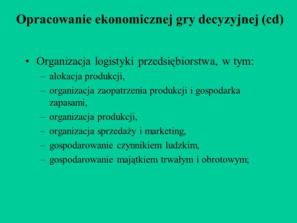 Opracowanie ekonomicznej gry decyzyjnej (cd) Organizacja logistyki przedsiębiorstwa, w tym: –alokacja produkcji, –organizacja zaopatrzenia produkcji i