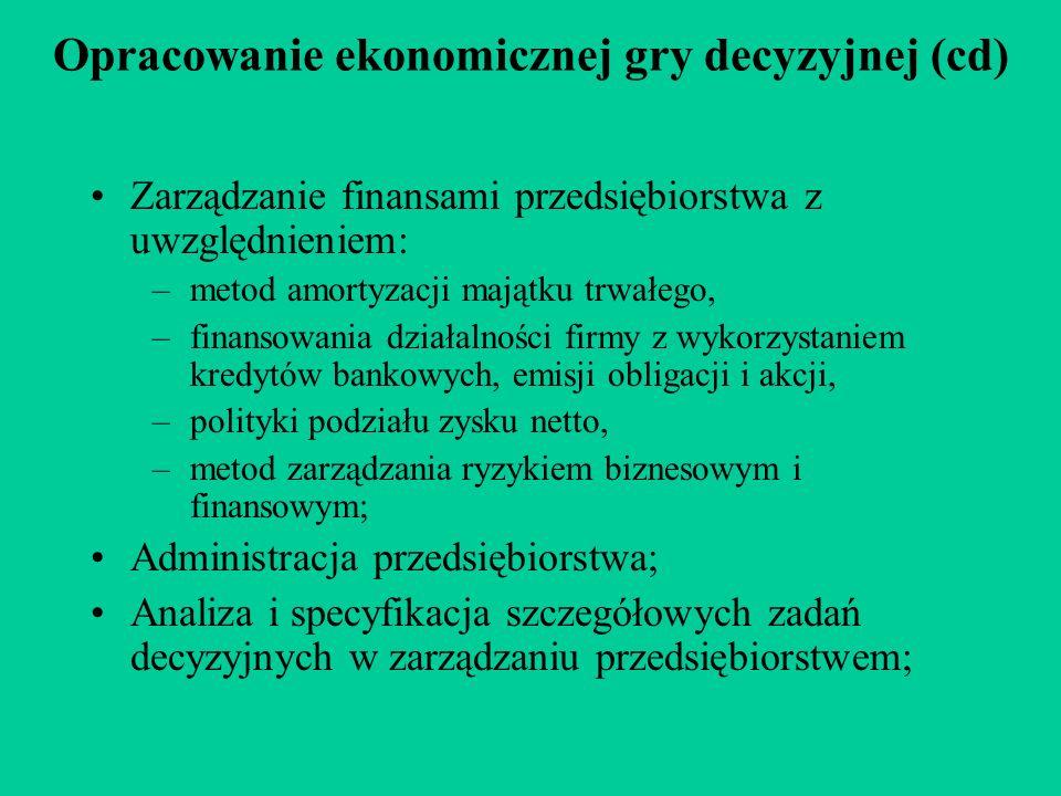 Opracowanie ekonomicznej gry decyzyjnej (cd) Zarządzanie finansami przedsiębiorstwa z uwzględnieniem: –metod amortyzacji majątku trwałego, –finansowan