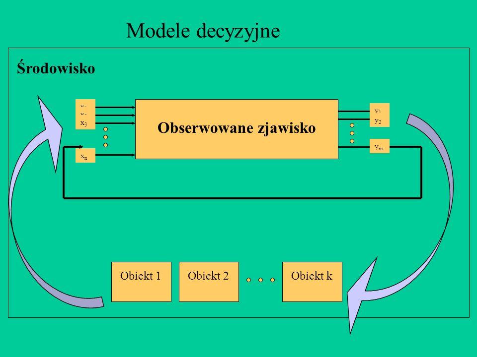 Środowisko Modele decyzyjne Obserwowane zjawisko x1x1 x2x2 x3x3 xnxn y1y1 y2y2 ymym Obiekt 1Obiekt 2Obiekt k