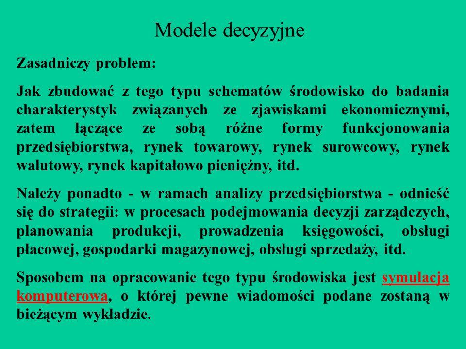 Modele decyzyjne Zasadniczy problem: Jak zbudować z tego typu schematów środowisko do badania charakterystyk związanych ze zjawiskami ekonomicznymi, z