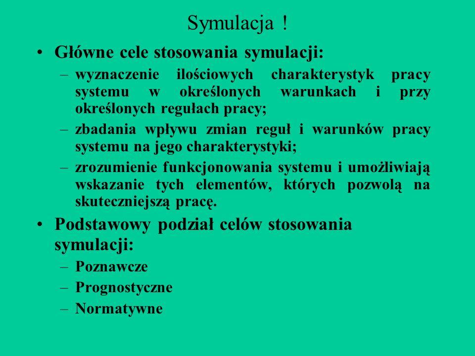 Symulacja ! Główne cele stosowania symulacji: –wyznaczenie ilościowych charakterystyk pracy systemu w określonych warunkach i przy określonych regułac