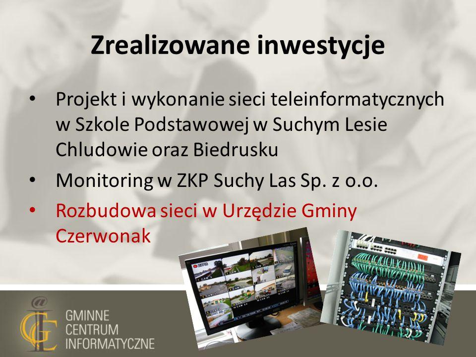 Zrealizowane inwestycje Projekt i wykonanie sieci teleinformatycznych w Szkole Podstawowej w Suchym Lesie Chludowie oraz Biedrusku Monitoring w ZKP Su