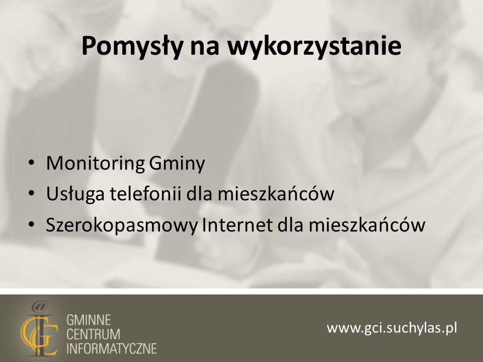 Pomysły na wykorzystanie Monitoring Gminy Usługa telefonii dla mieszkańców Szerokopasmowy Internet dla mieszkańców www.gci.suchylas.pl