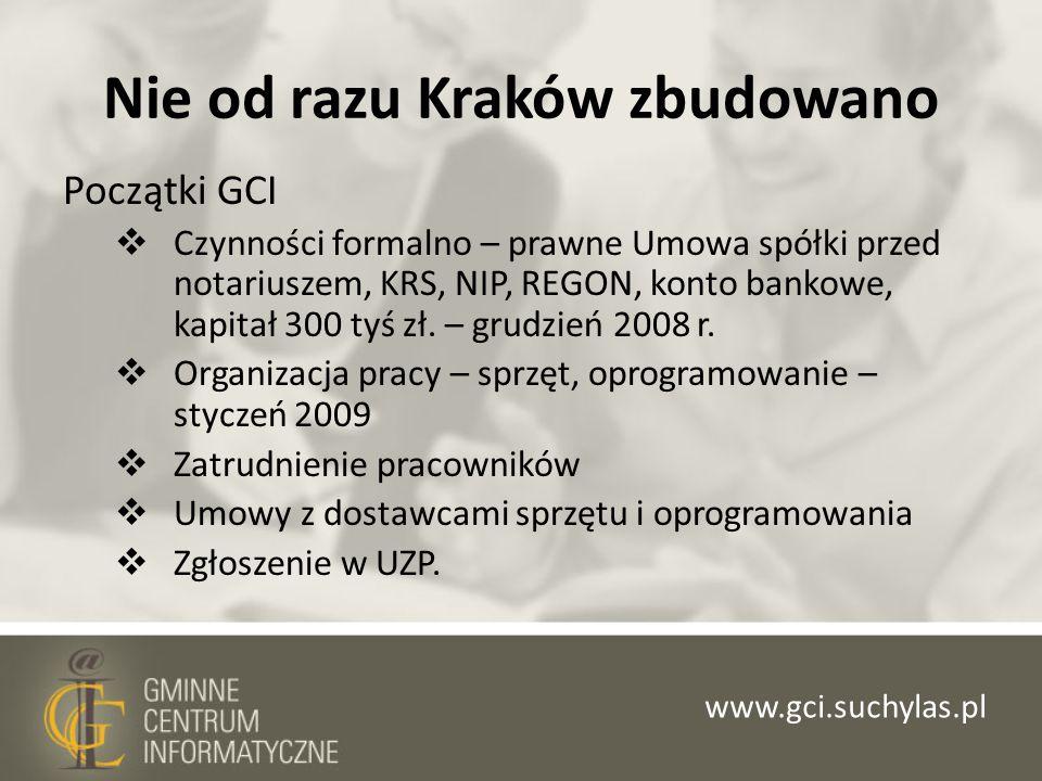 Nie od razu Kraków zbudowano Początki GCI Czynności formalno – prawne Umowa spółki przed notariuszem, KRS, NIP, REGON, konto bankowe, kapitał 300 tyś