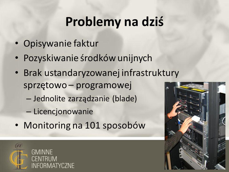 Problemy na dziś Opisywanie faktur Pozyskiwanie środków unijnych Brak ustandaryzowanej infrastruktury sprzętowo – programowej – Jednolite zarządzanie
