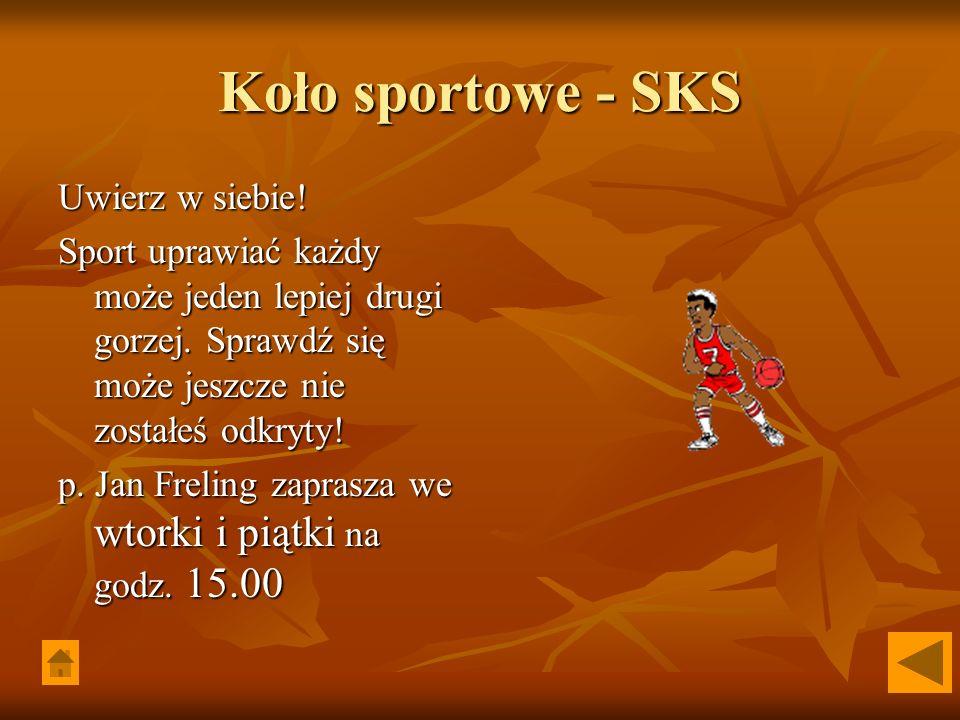 Koło sportowe - SKS Uwierz w siebie! Sport uprawiać każdy może jeden lepiej drugi gorzej. Sprawdź się może jeszcze nie zostałeś odkryty! p. Jan Frelin