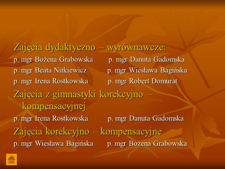 Zajęcia dydaktyczno – wyrównawcze: p. mgr Bożena Grabowska p. mgr Danuta Gadomska p. mgr Beata Nitkiewicz p. mgr Wiesława Bagińska p. mgr Irena Rostko