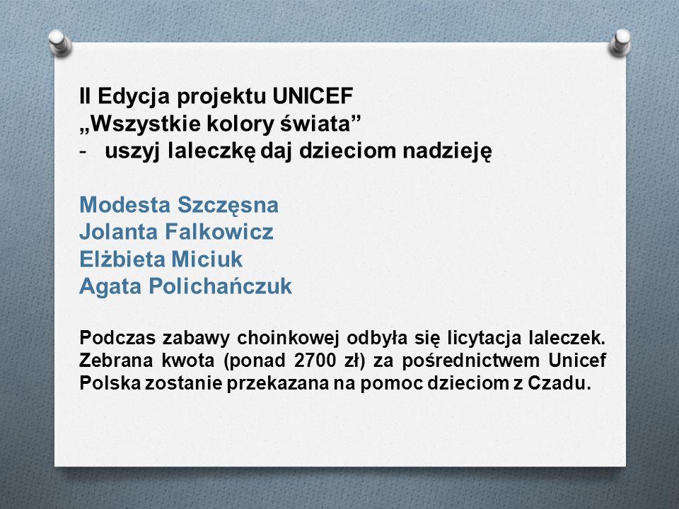 II Edycja projektu UNICEF Wszystkie kolory świata -uszyj laleczkę daj dzieciom nadzieję Modesta Szczęsna Jolanta Falkowicz Elżbieta Miciuk Agata Polic
