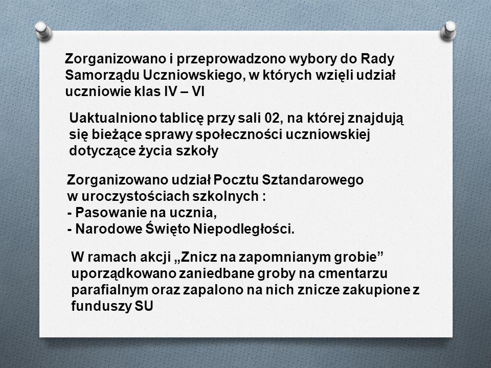 Zorganizowano i przeprowadzono wybory do Rady Samorządu Uczniowskiego, w których wzięli udział uczniowie klas IV – VI Uaktualniono tablicę przy sali 0