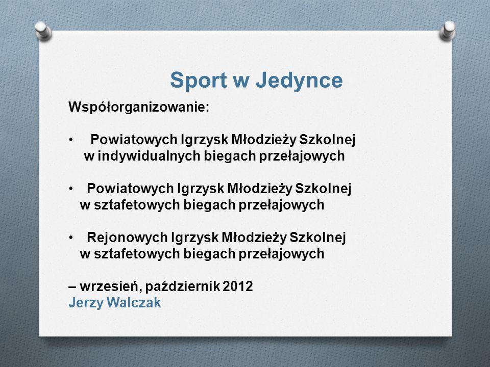 Sport w Jedynce Współorganizowanie: Powiatowych Igrzysk Młodzieży Szkolnej w indywidualnych biegach przełajowych Powiatowych Igrzysk Młodzieży Szkolne