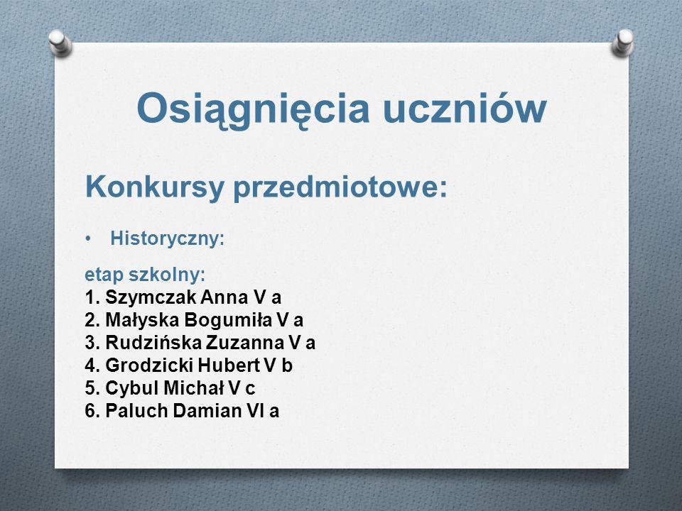 Osiągnięcia uczniów Konkursy przedmiotowe: Historyczny: etap szkolny: 1. Szymczak Anna V a 2. Małyska Bogumiła V a 3. Rudzińska Zuzanna V a 4. Grodzic