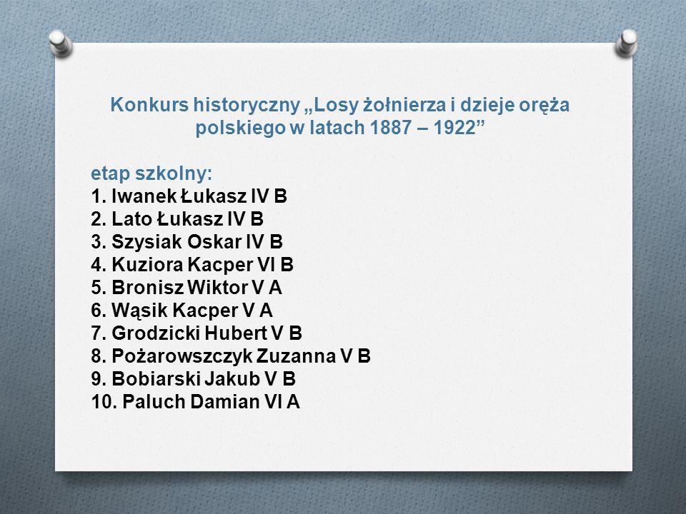 Konkurs historyczny Losy żołnierza i dzieje oręża polskiego w latach 1887 – 1922 etap szkolny: 1. Iwanek Łukasz IV B 2. Lato Łukasz IV B 3. Szysiak Os