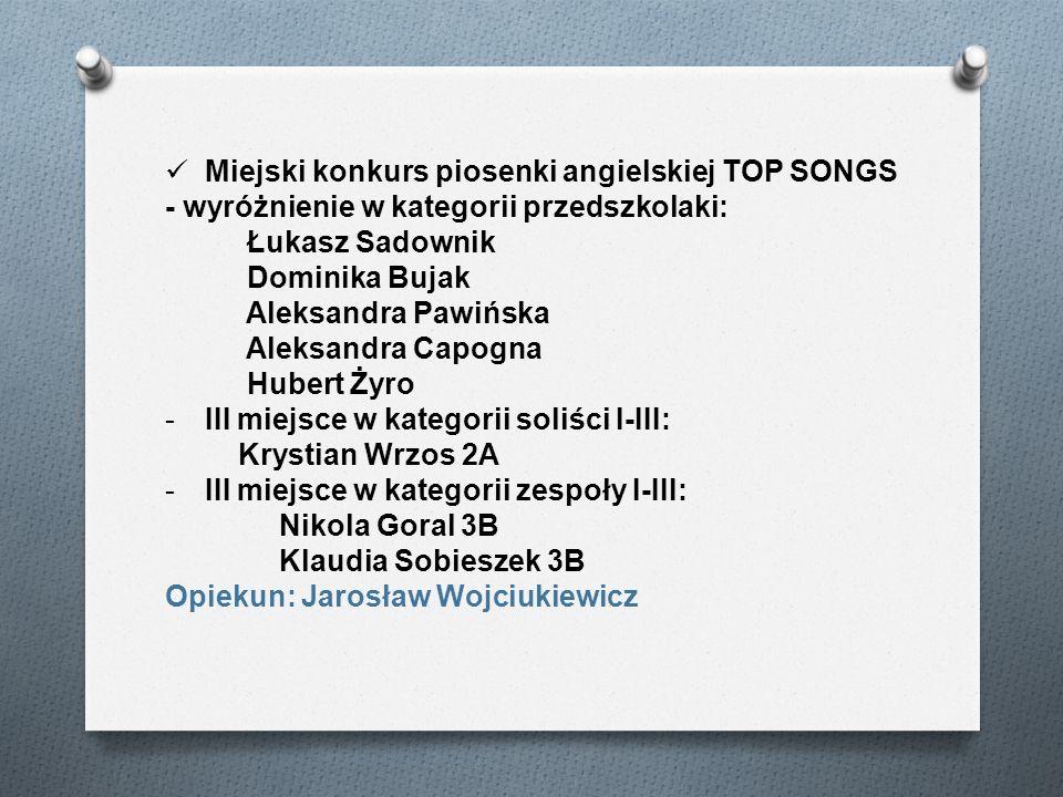 Miejski konkurs piosenki angielskiej TOP SONGS - wyróżnienie w kategorii przedszkolaki: Łukasz Sadownik Dominika Bujak Aleksandra Pawińska Aleksandra