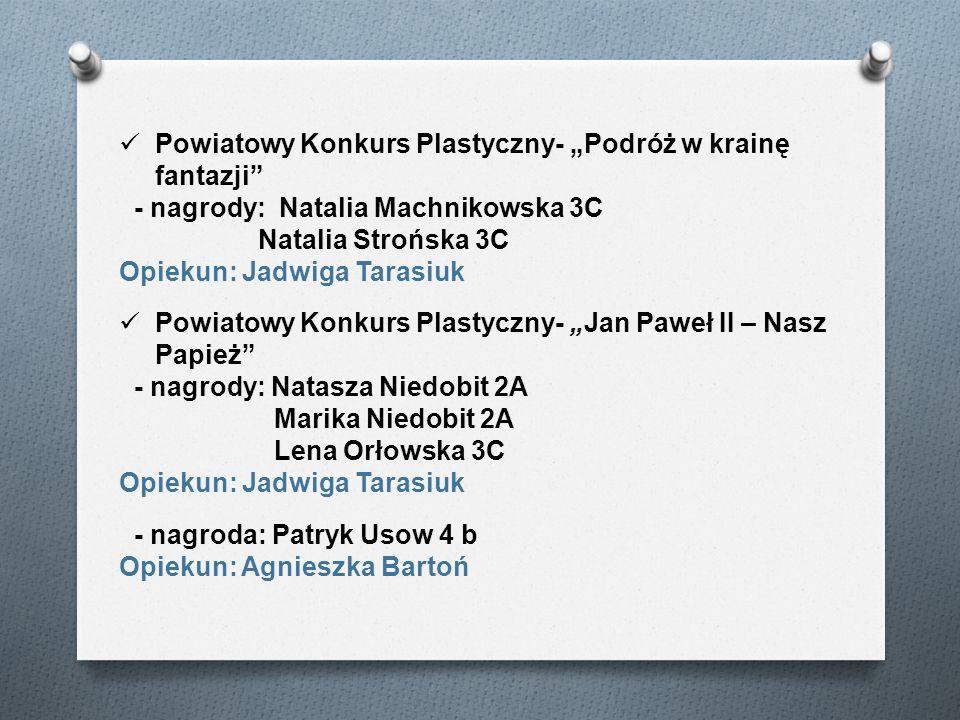 Powiatowy Konkurs Plastyczny- Podróż w krainę fantazji - nagrody: Natalia Machnikowska 3C Natalia Strońska 3C Opiekun: Jadwiga Tarasiuk Powiatowy Konk
