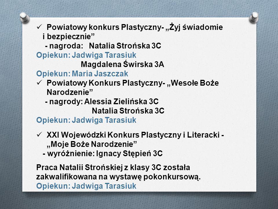 Powiatowy konkurs Plastyczny- Żyj świadomie i bezpiecznie - nagroda: Natalia Strońska 3C Opiekun: Jadwiga Tarasiuk Magdalena Świrska 3A Opiekun: Maria