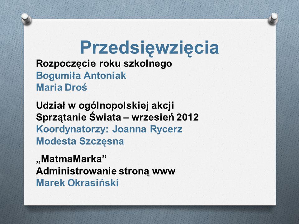 Przedsięwzięcia Rozpoczęcie roku szkolnego Bogumiła Antoniak Maria Droś Udział w ogólnopolskiej akcji Sprzątanie Świata – wrzesień 2012 Koordynatorzy:
