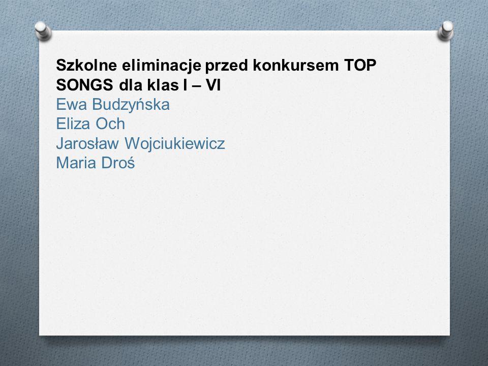 Szkolne eliminacje przed konkursem TOP SONGS dla klas I – VI Ewa Budzyńska Eliza Och Jarosław Wojciukiewicz Maria Droś