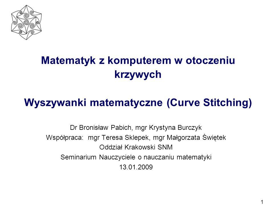 1 Matematyk z komputerem w otoczeniu krzywych Wyszywanki matematyczne (Curve Stitching) Dr Bronisław Pabich, mgr Krystyna Burczyk Współpraca: mgr Tere