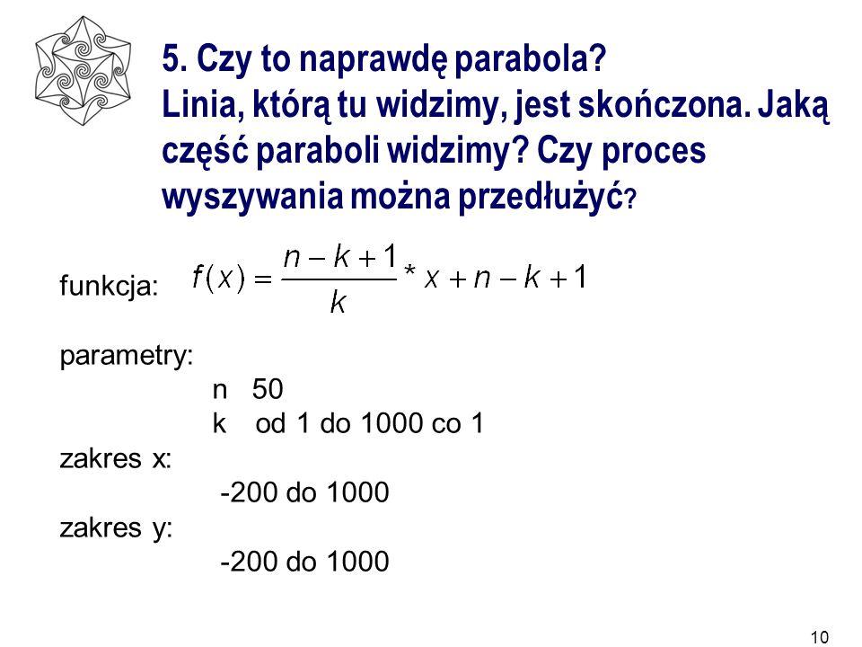 10 5. Czy to naprawdę parabola? Linia, którą tu widzimy, jest skończona. Jaką część paraboli widzimy? Czy proces wyszywania można przedłużyć ? funkcja