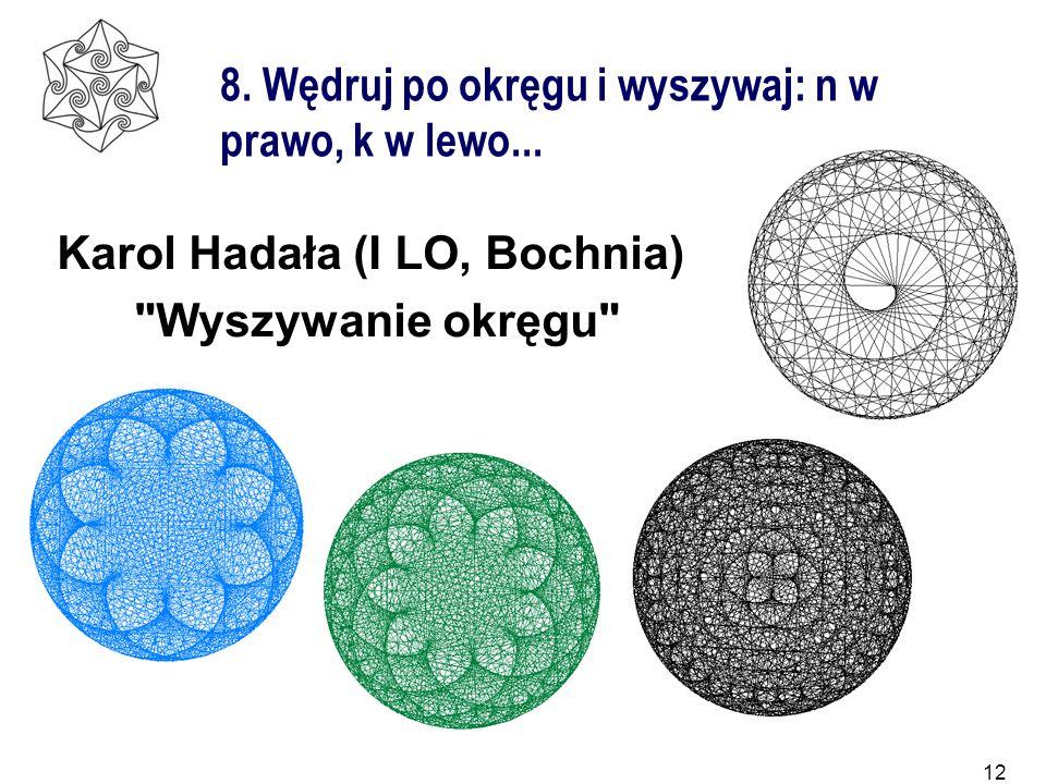 12 8. Wędruj po okręgu i wyszywaj: n w prawo, k w lewo... Karol Hadała (I LO, Bochnia)