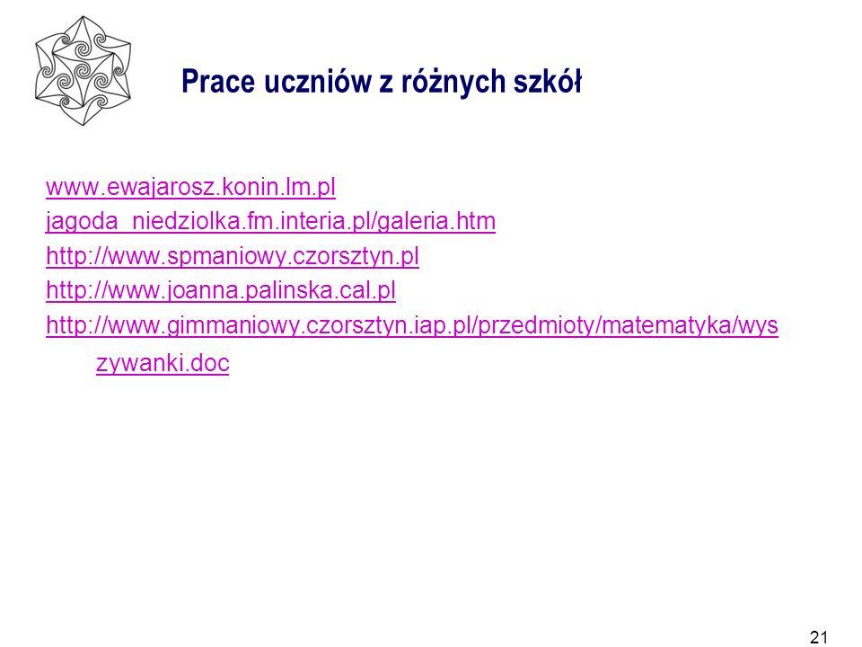21 Prace uczniów z różnych szkół www.ewajarosz.konin.lm.pl jagoda_niedziolka.fm.interia.pl/galeria.htm http://www.spmaniowy.czorsztyn.pl http://www.jo