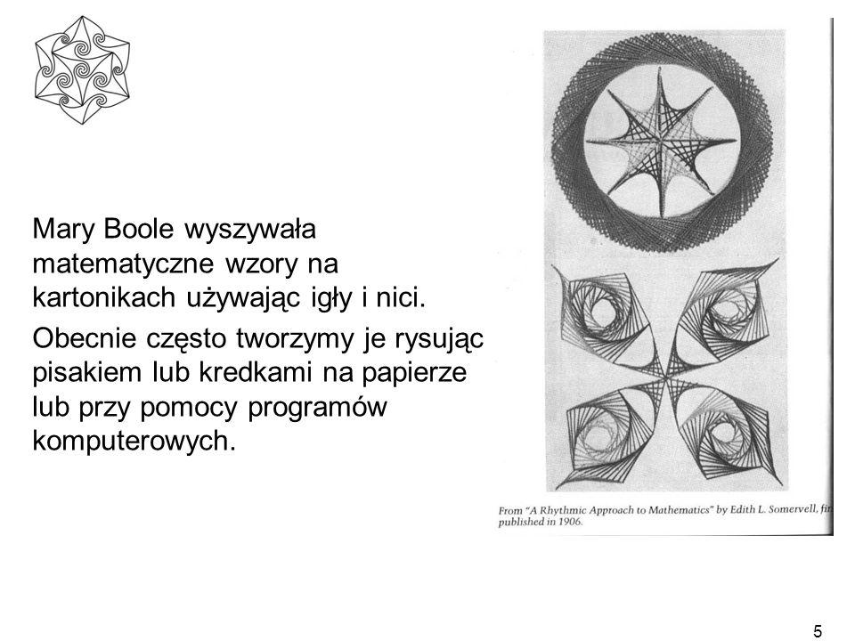 5 Mary Boole wyszywała matematyczne wzory na kartonikach używając igły i nici. Obecnie często tworzymy je rysując pisakiem lub kredkami na papierze lu